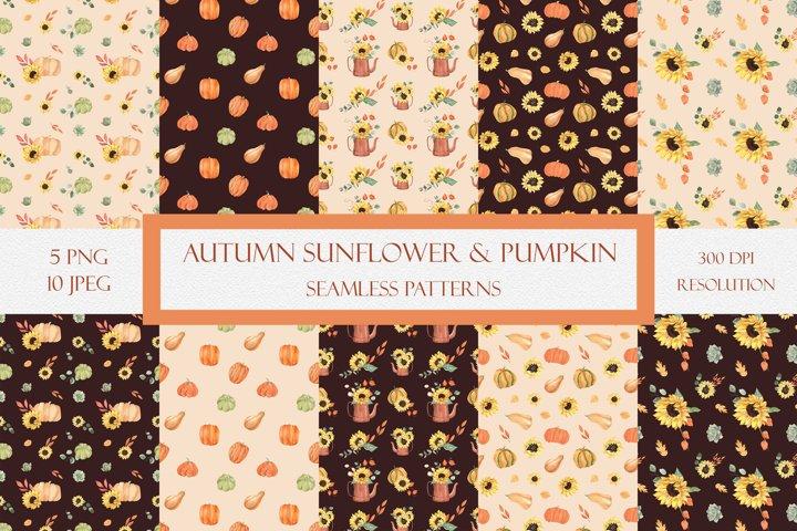 Autumn Sunflower & Pumpkin Patterns. Fall Digital Paper