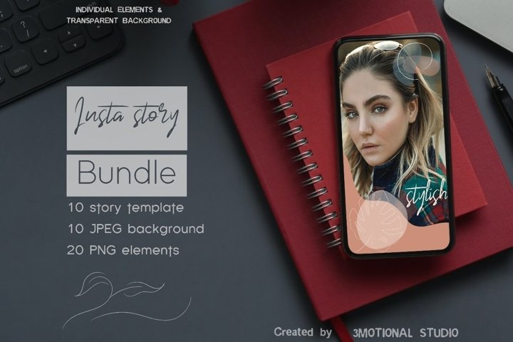 Viola Instagram Story Bundle ai psd png elements jpg
