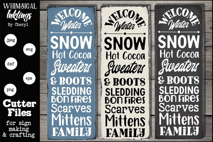 Welcome Winter Vertical Sign SVG