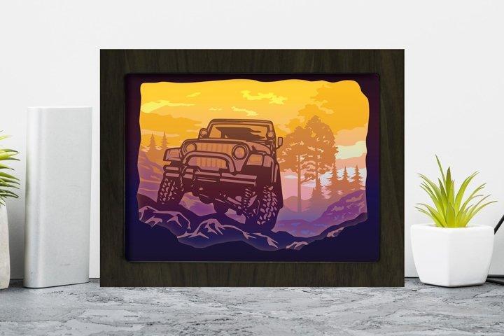 Jeep 3D Paper Cutting Light Box - Shadow Box