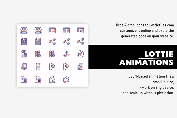 Finance icons Lottie animation pack