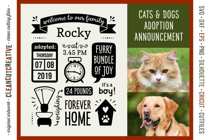 Pet Adoption Cat Kitten Dog Puppy Announcement Template SVG