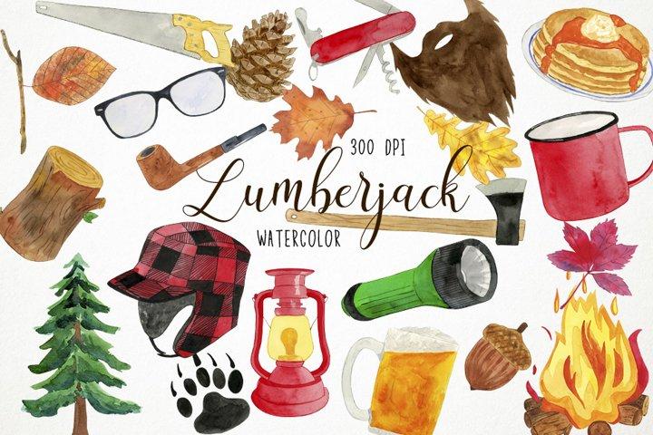 Watercolor Lumberjack Clipart, Lumberjack Clip Art, Winter