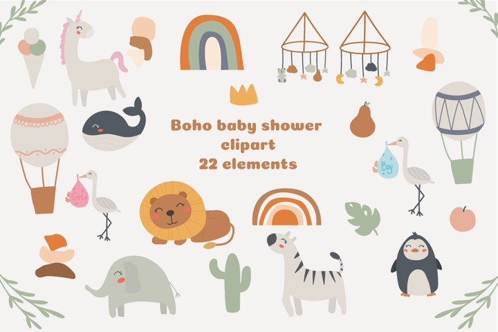 Boho baby shower clipart, Baby safari animals clipart PNG