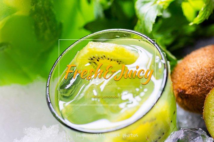 Kiwi lemonade. Fresh tropical drinks with ice and mint.