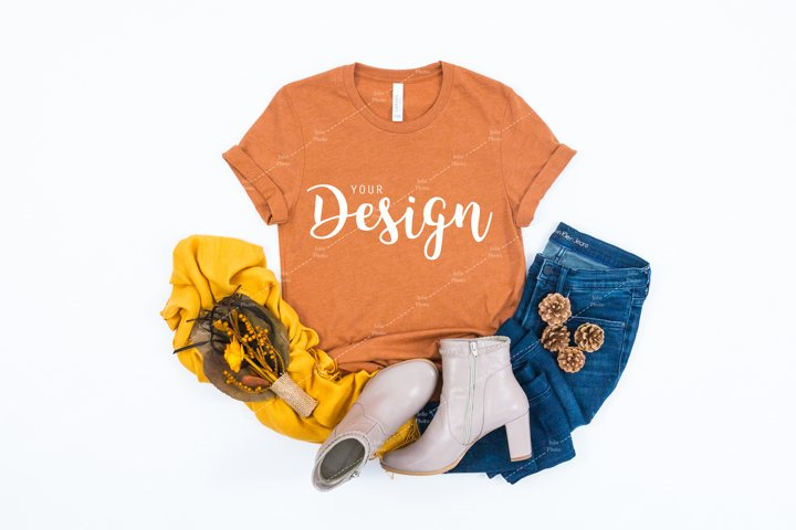Bella Canvas 3001 Heather Autumn T-shirt Mockup for Fall