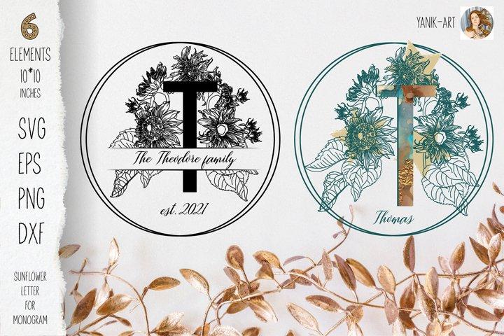 T Monogram svg letter with sunflower for cricut, sublimation
