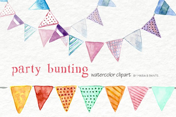 Party Banner Bunting Watercolor Clipart