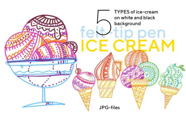 Colorful cool ice-cream set