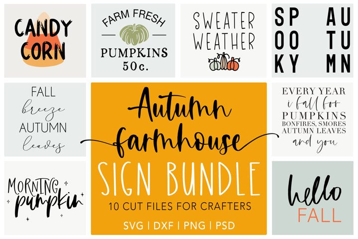 Fall Sign Bundle | Autumn Farmhouse Sign Bundle | Fall SVG