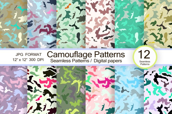Camouflage patterns, scrapbook paper