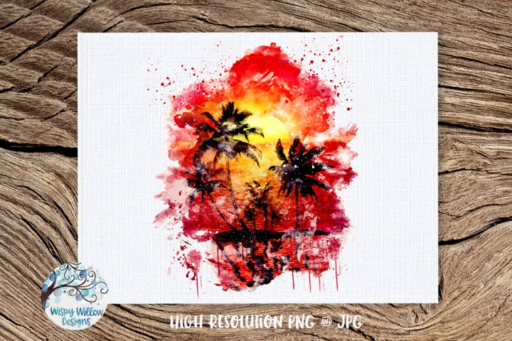 Watercolor Summer Sunset | PNG and JPG | Sublimation