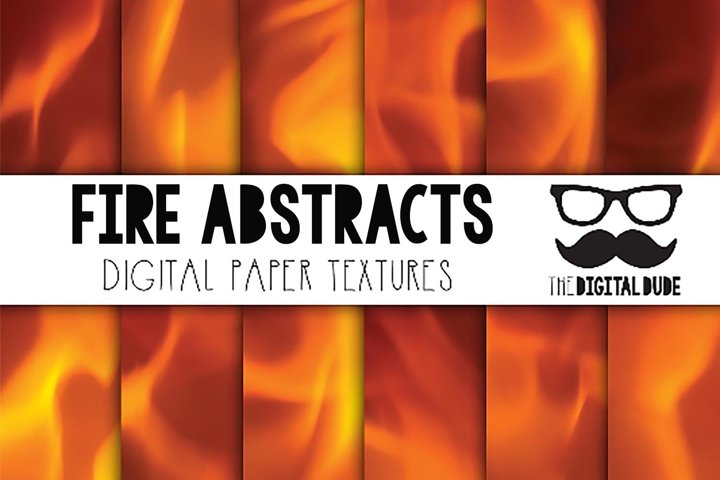 Fire Abstracts - - Digital Paper Set of 12 Images