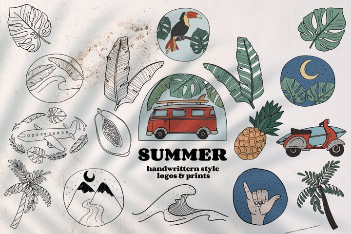 Handdrawn Tropical Summer Collection