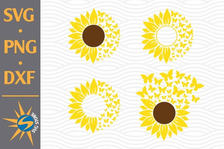 Butterfly Sunflower SVG, PNG, DXF Digital Files Include