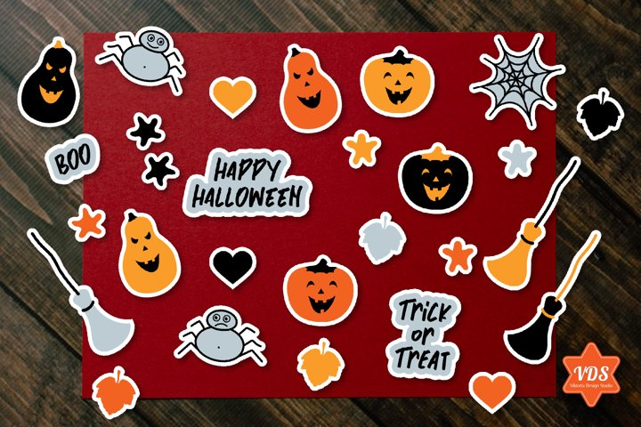 Halloween Cute Stickers with White Border. PNG.