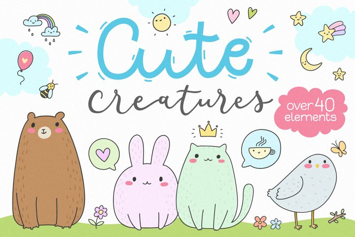 Cute Creatures Vector Set example