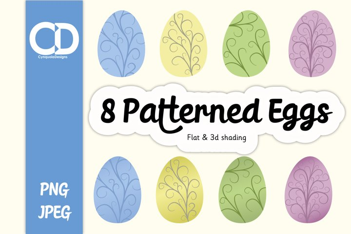 8 Curly Patterned Eggs - Easter Eggs