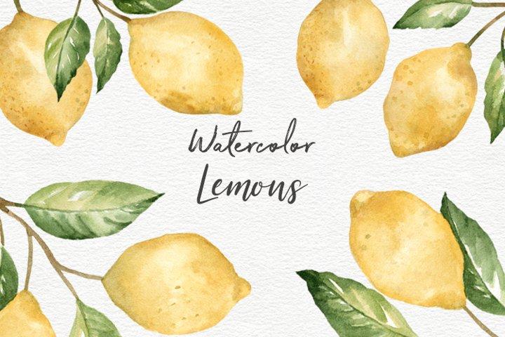 Lemons watercolor clipart collection