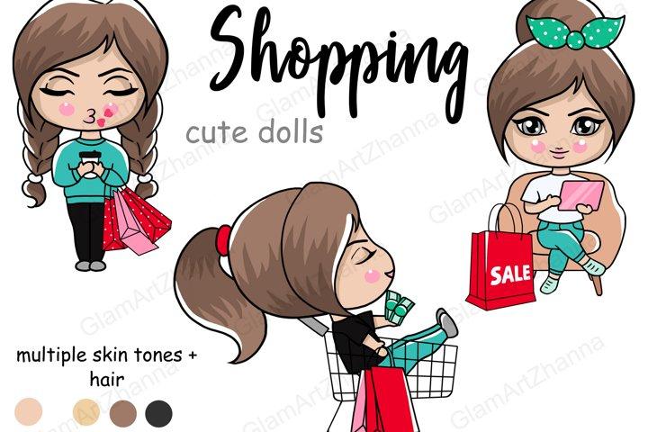 Shopping CUTE DOLLS Lady Boss Babe Digital Illustration PNG