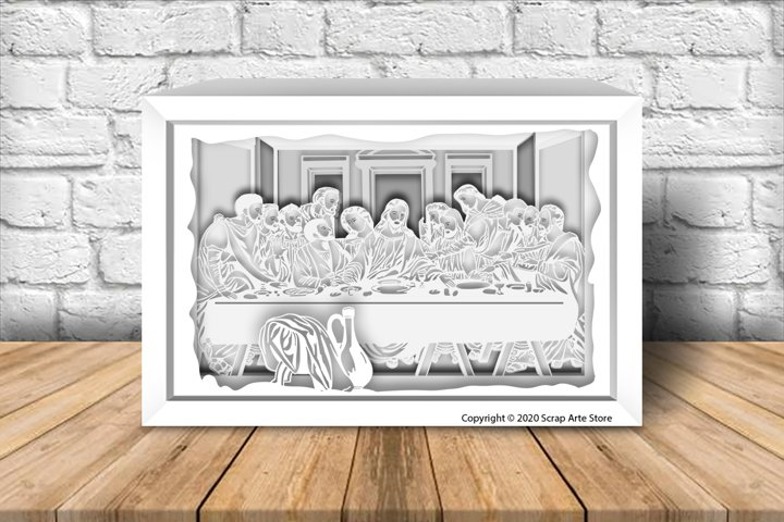 Paper Light box template cut holy supper