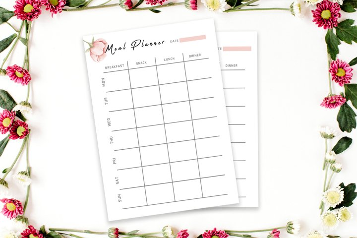 Floral Meal Planner Template V2 example 2