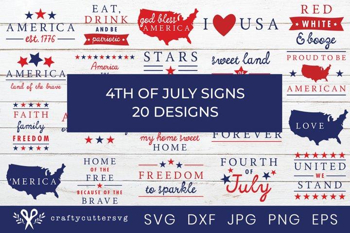 4th of July Sign SVG Bundle | Independence Day SVG Bundle