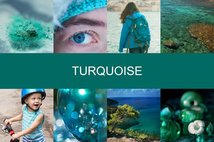 Set of 8 squired pics of turquoise color - different topic