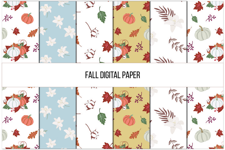 Fall Digital Paper, Autumn Seamless Patterns,Fall background