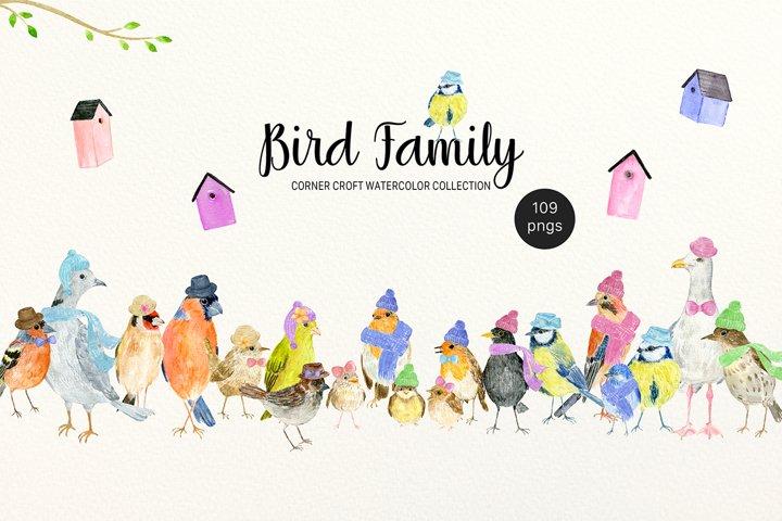 Watercolor clipart Bird Family