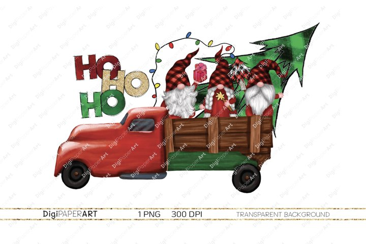 Christmas Truck with Gnomes, Christmas Sublimation Design