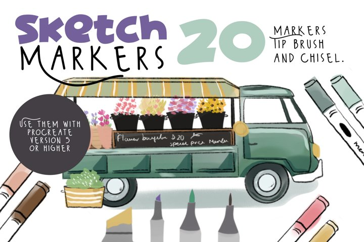 Sketch markers for Procreate