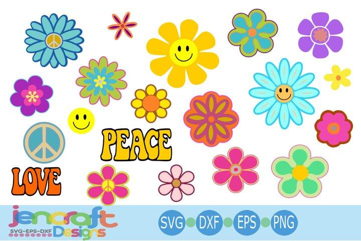 Hippie Svg, Groovy Flowers svg, 60s-70s Retro Peace Love svg