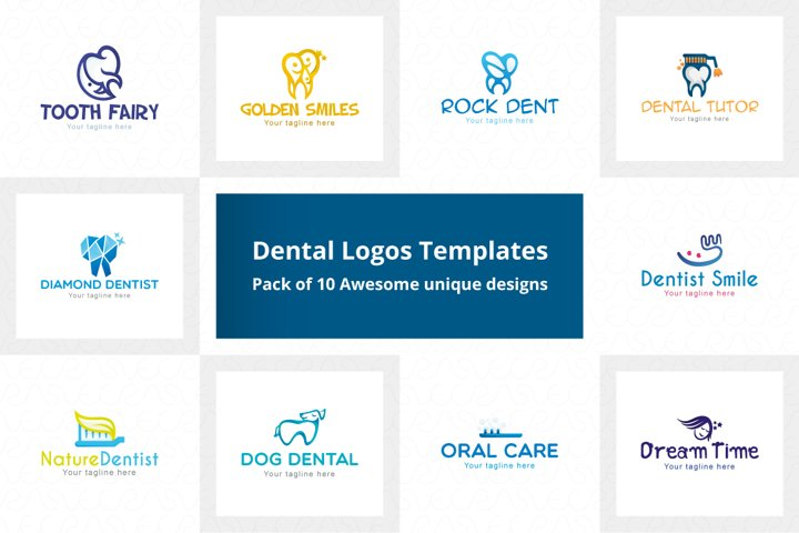 Dental Logo Templates Pack of 10 Awesome Unique designs