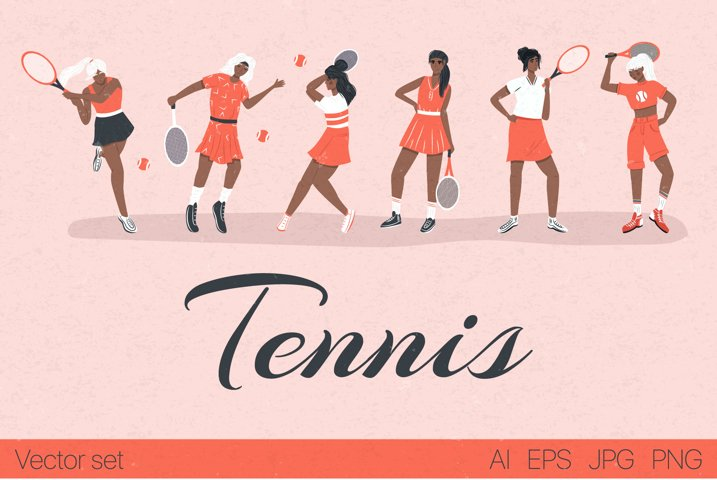 Tennis characters vector collection