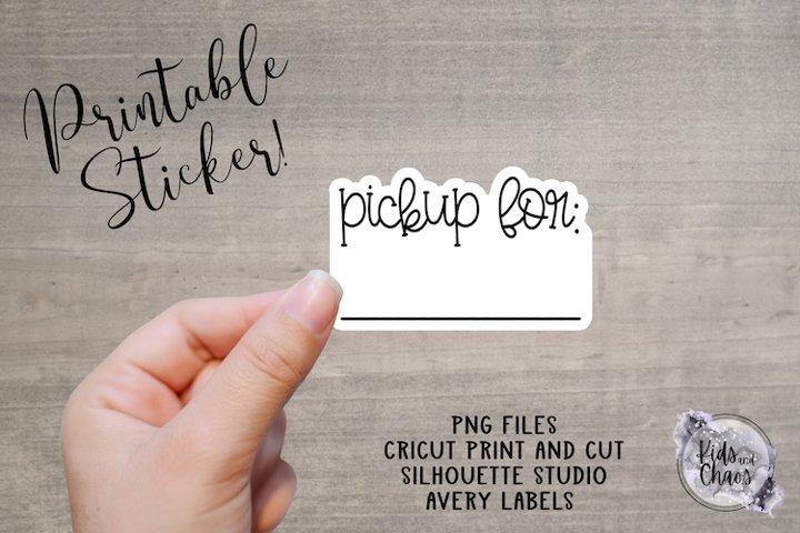 Pickup for sticker printable sticker