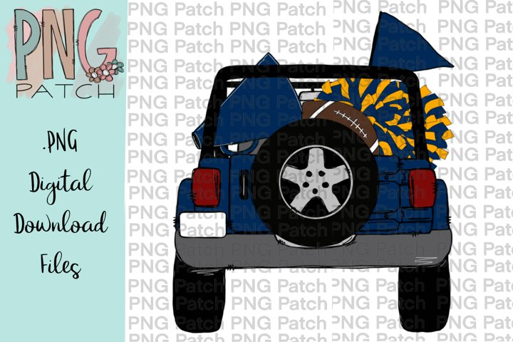 Topless Blue and Gold SUV, Football Tailgating, PNG File
