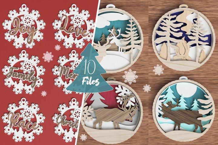 Christmas ornament laser cut file Bundle of 10