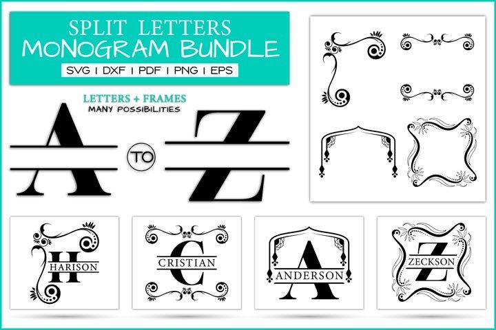 Split Letters Monogram Bundle With Frames, SVG DXF PNG EPS