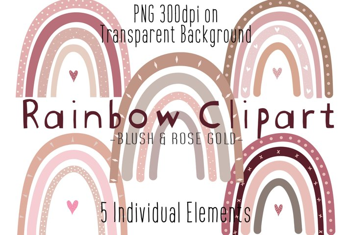 Rainbow Clipart Blush Pink & Rose Gold, Baby Shower, Nursery