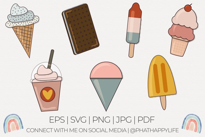 Summer Treats - 7 Ice Cream SVGs