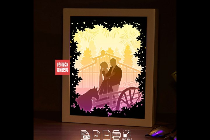 198 Will you marry me valentines day, 3d paper cut lightbox