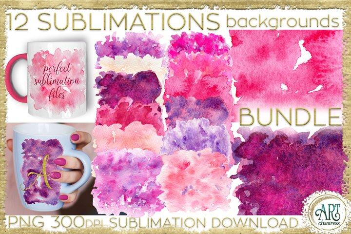 Sublimation BUNDLE Watercolor Pink Purple backgrounds PNG