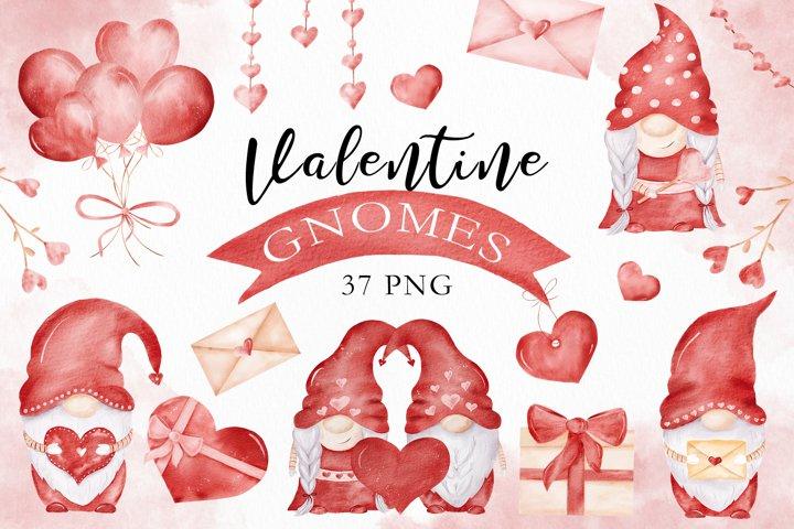 Watercolor Valentine Gnomes & Love Clipart Collection