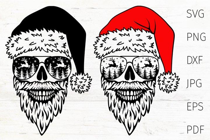 Skull Santa SVG cut file, Christmas skull design Santa Skull