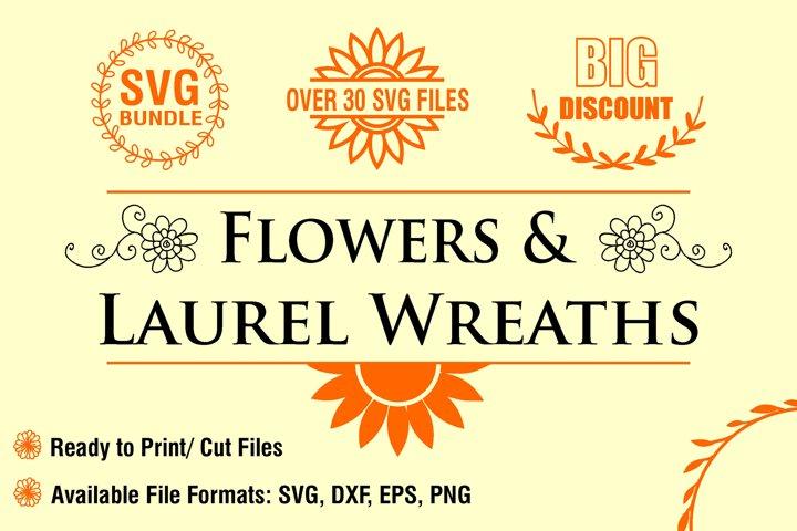 Flowers and Laurel Wreaths SVG Bundle