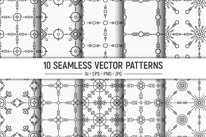 10 seamless geometric ethnic vector patterns