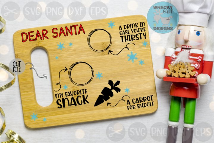 Dear Santa, Milk, Snack, Carrot, Plate, Cut File SVG
