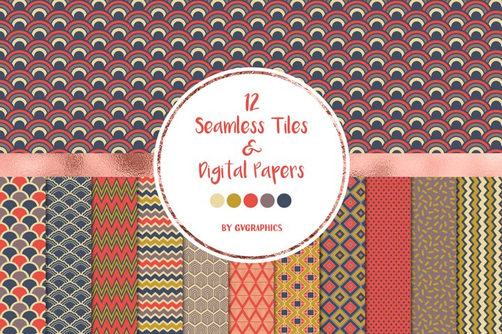 12 Retro Seamless Patterns and Digital Papers