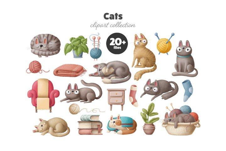 Cats - clipart set